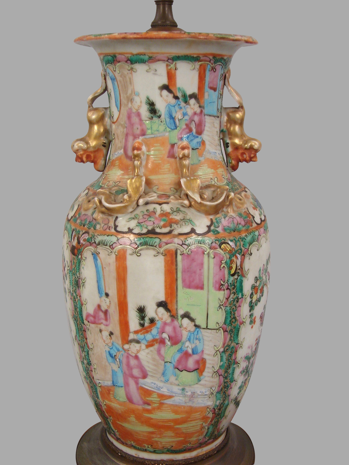 Chinese Export Rose Medallion Vase Now Electrified | DANIEL STEIN Antiques San Francisco CA