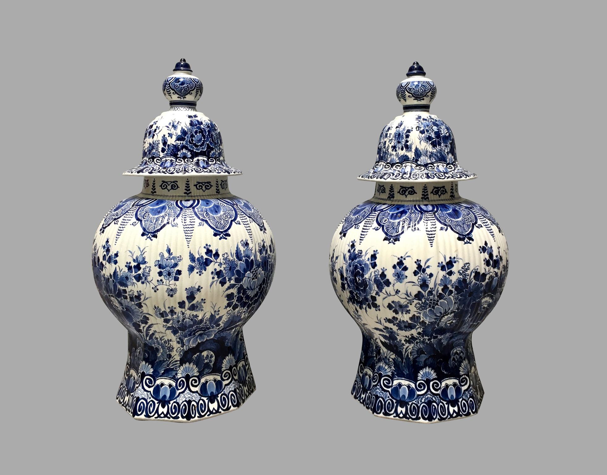 Pair of Dutch Delft Blue and White Covered Vases of Large-Scale | DANIEL STEIN Antiques San Francisco CA