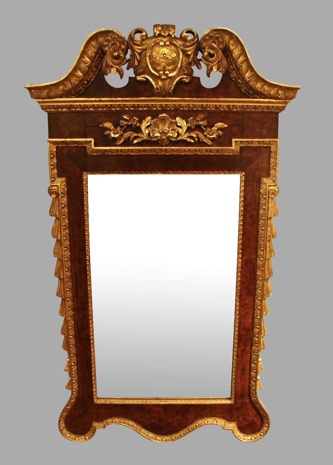 George II Style Walnut Parcel-Gilt Mirror | DANIEL STEIN Antiques San Francisco CA