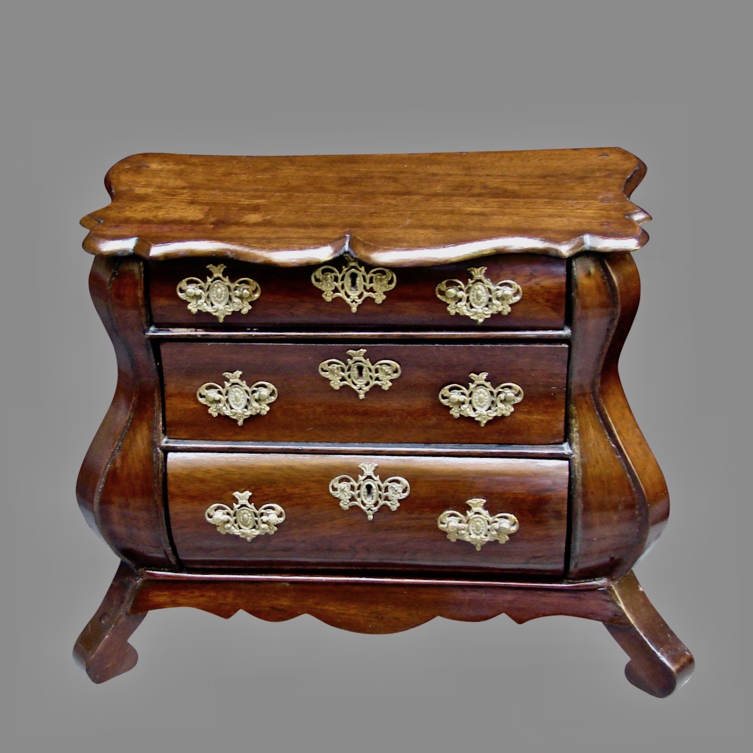 Miniature Mahogany Bombe 3 Drawer Commode | DANIEL STEIN Antiques San Francisco CA