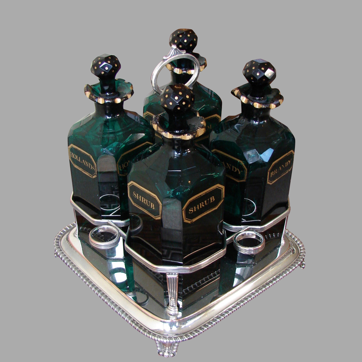 English Cut and Gilt Glass 4 Bottle Decanter Set | DANIEL STEIN Antiques San Francisco CA