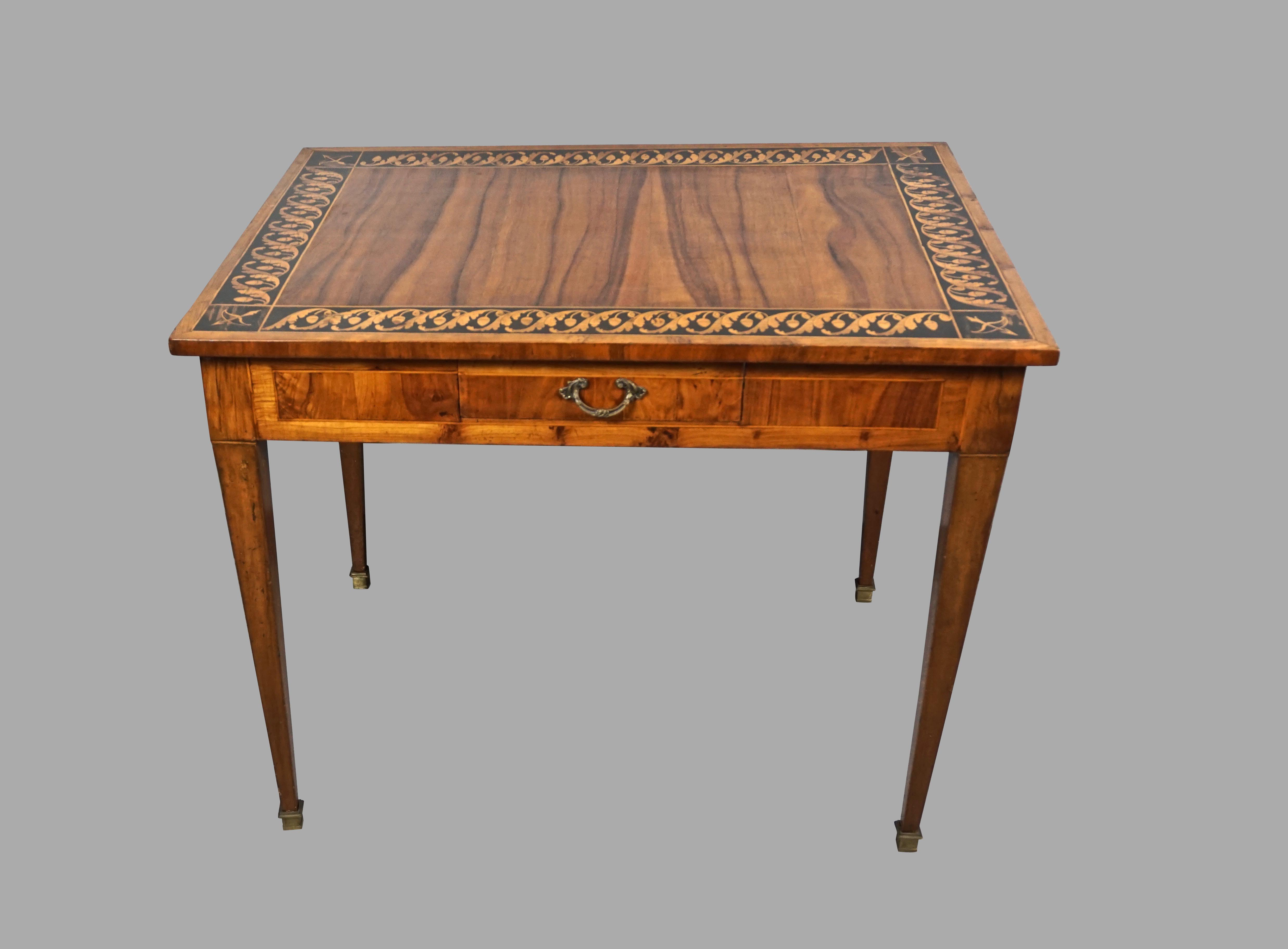 Italian Neoclassical Inlaid Walnut Table with Drawer | DANIEL STEIN Antiques San Francisco CA