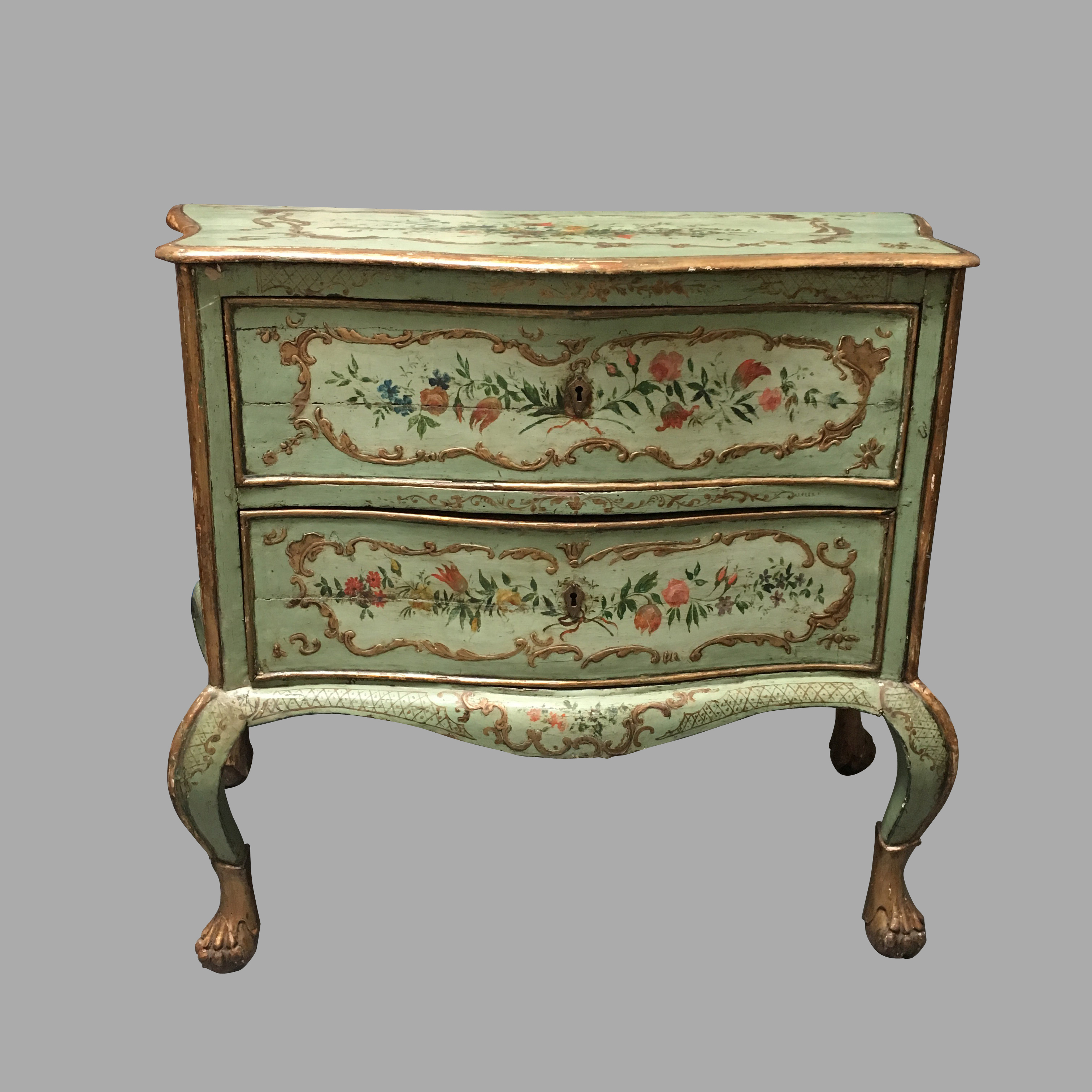 Italian Venetian Style Serpentine Painted Commode | DANIEL STEIN Antiques San Francisco CA