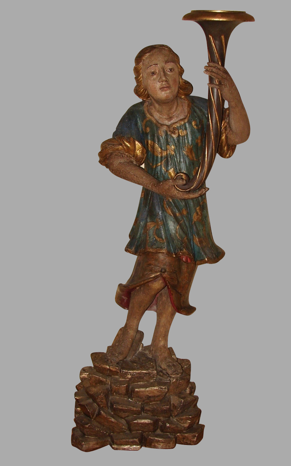 Italian Carved Polychrome Figure of Boy on Plinth | DANIEL STEIN Antiques San Francisco CA