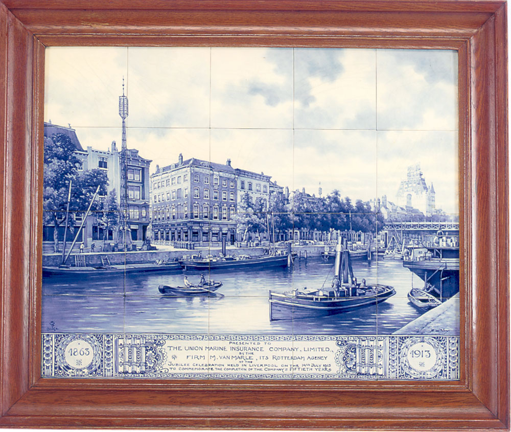 Delft Tile Picture of Rotterdam Waterfront | DANIEL STEIN Antiques San Francisco CA