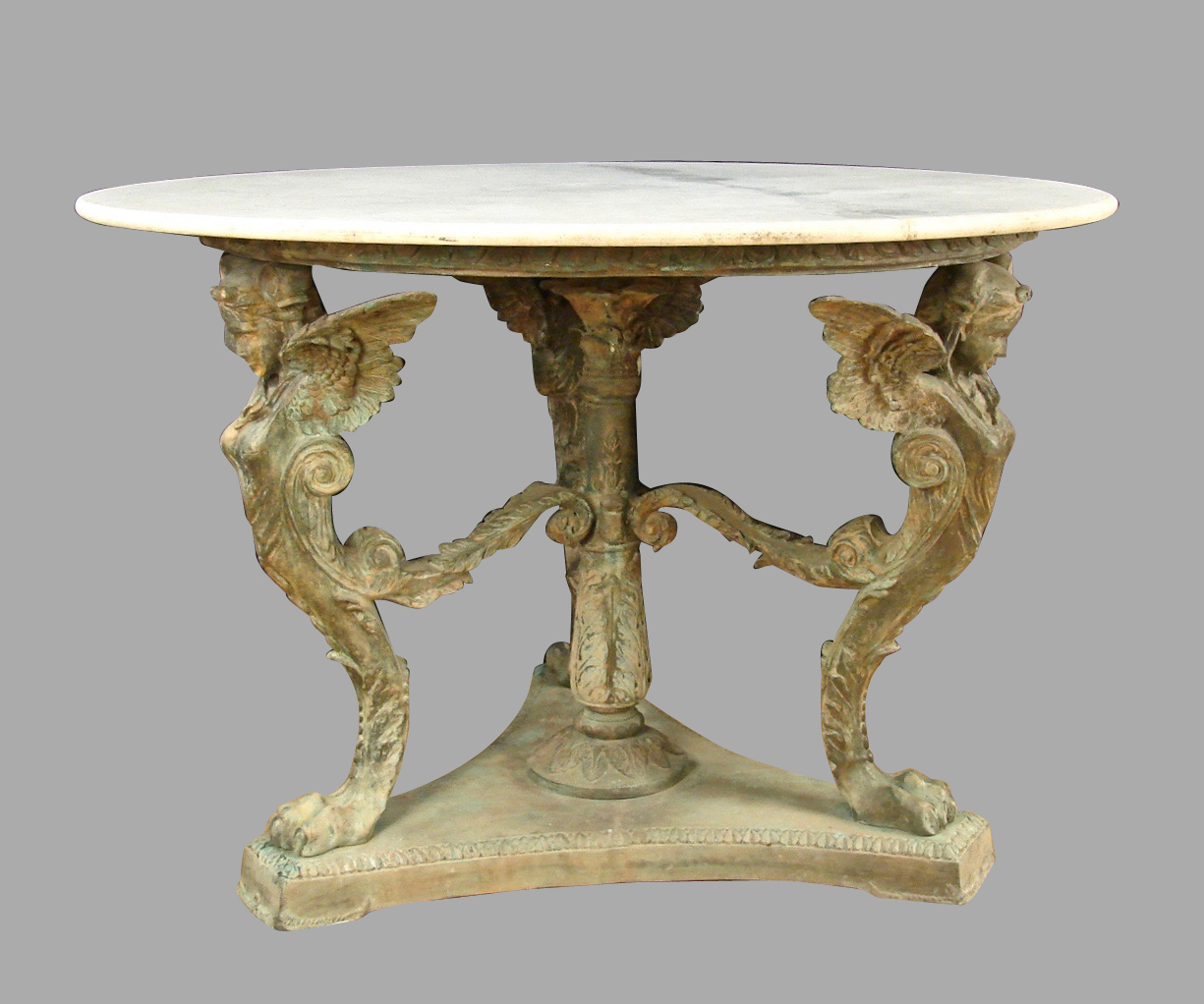 Bronze Neoclassical Style Stone Top Table