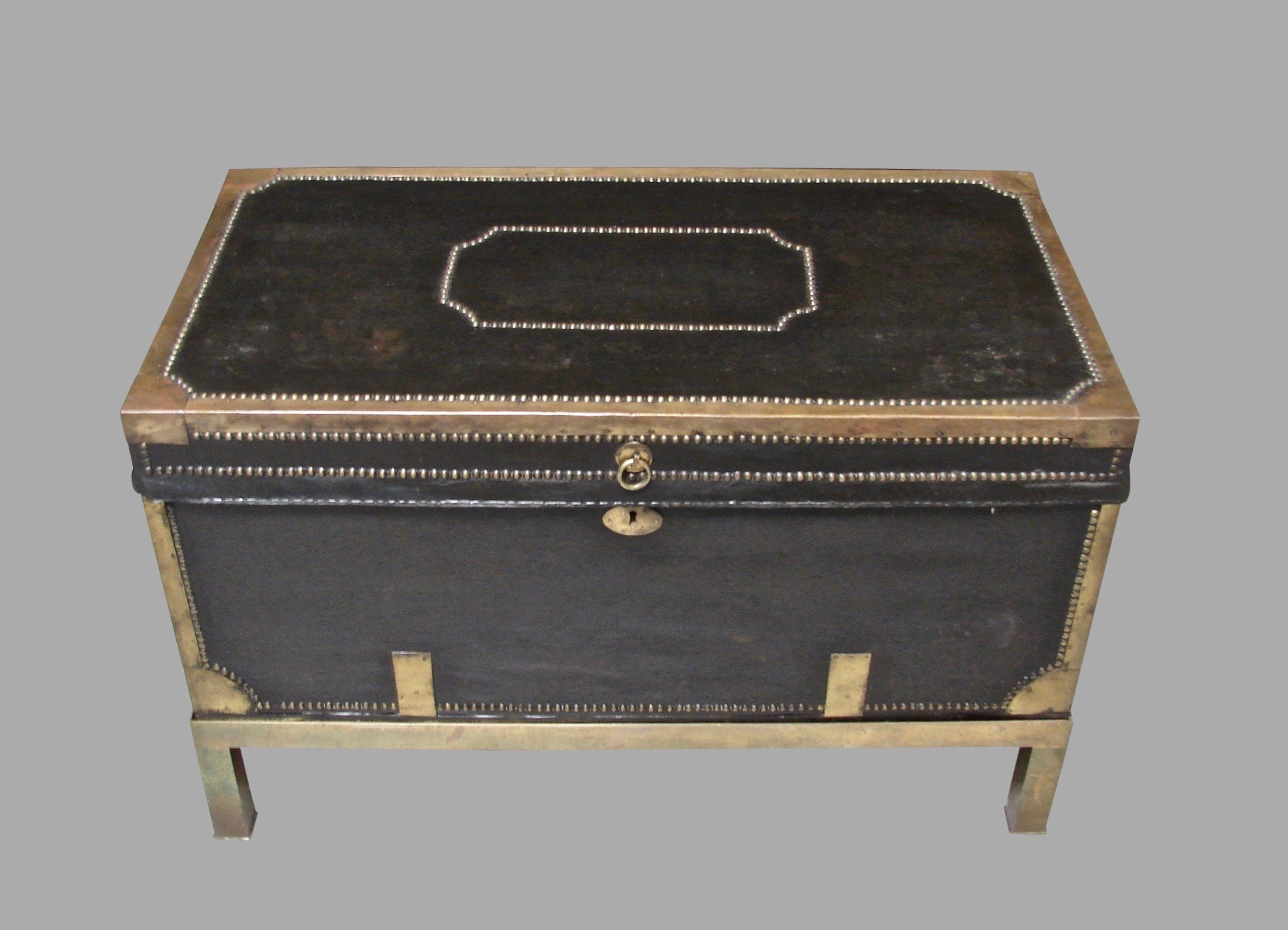 Campaign Style Leather and Brass Trunk on Custom Base | DANIEL STEIN Antiques San Francisco CA