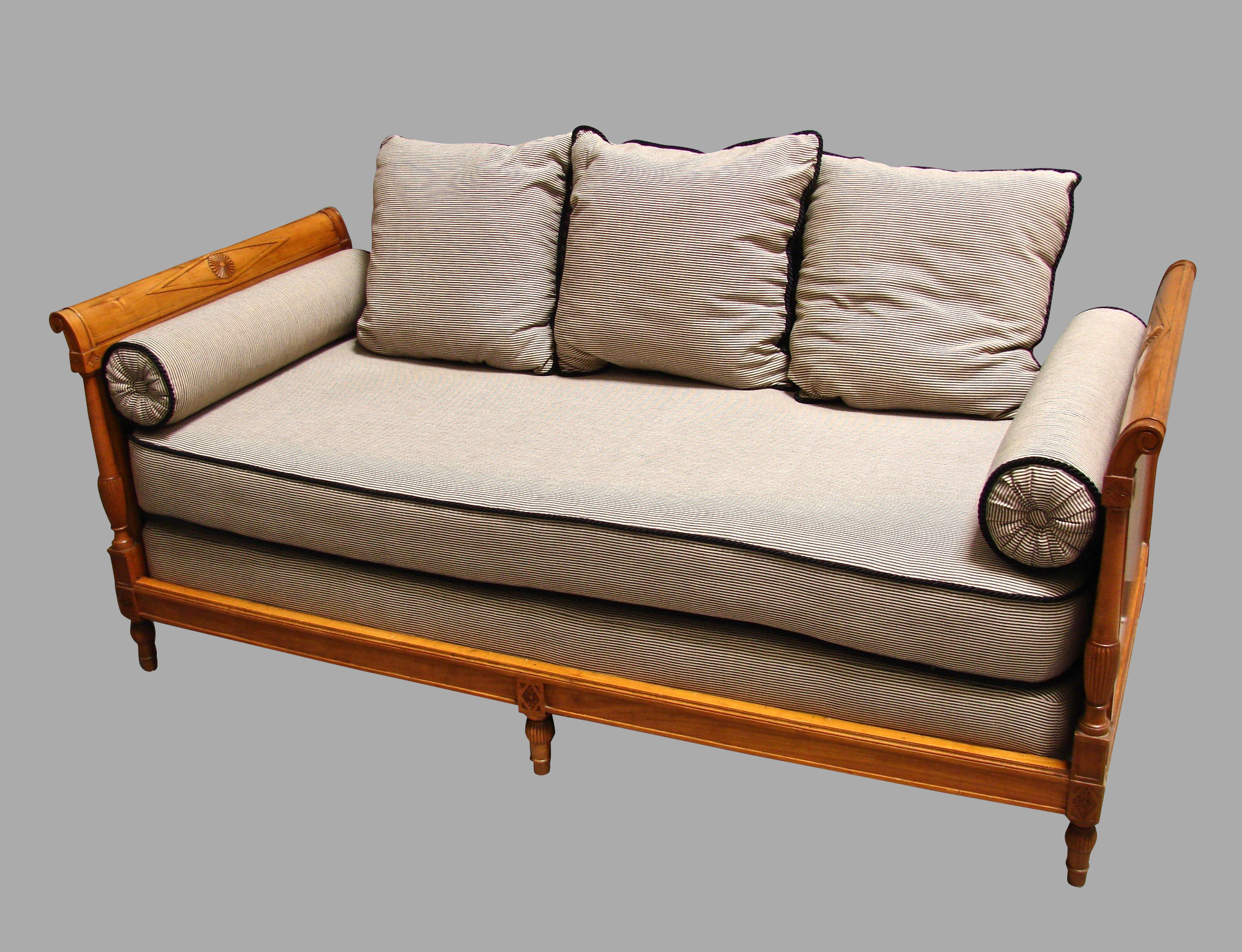 Continental Fruitwood Biedermeier Style Upholstered Daybed | DANIEL STEIN Antiques San Francisco CA