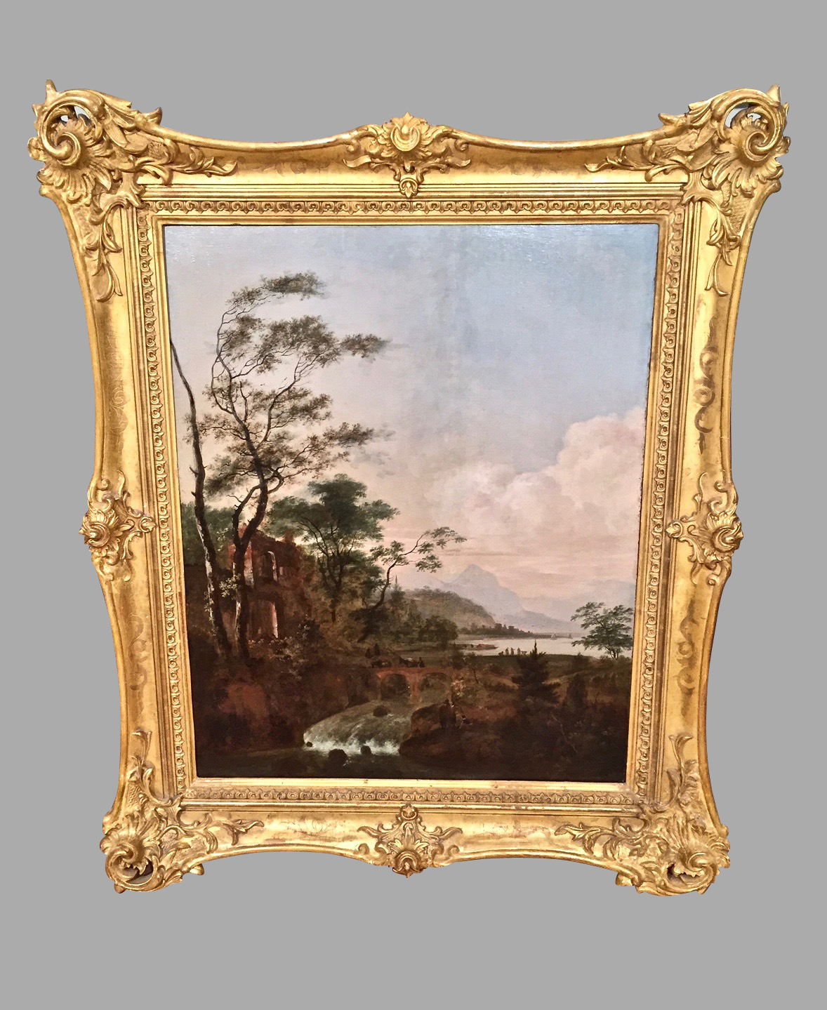 Continental Oil on Wood Landscape in Gilt Frame | DANIEL STEIN Antiques San Francisco CA