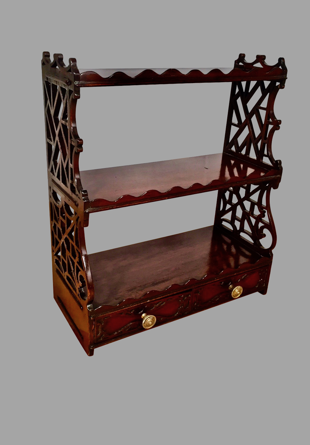 Chinese Chippendale Style Mahogany Hanging Shelf with 2 Drawers | DANIEL STEIN Antiques San Francisco CA