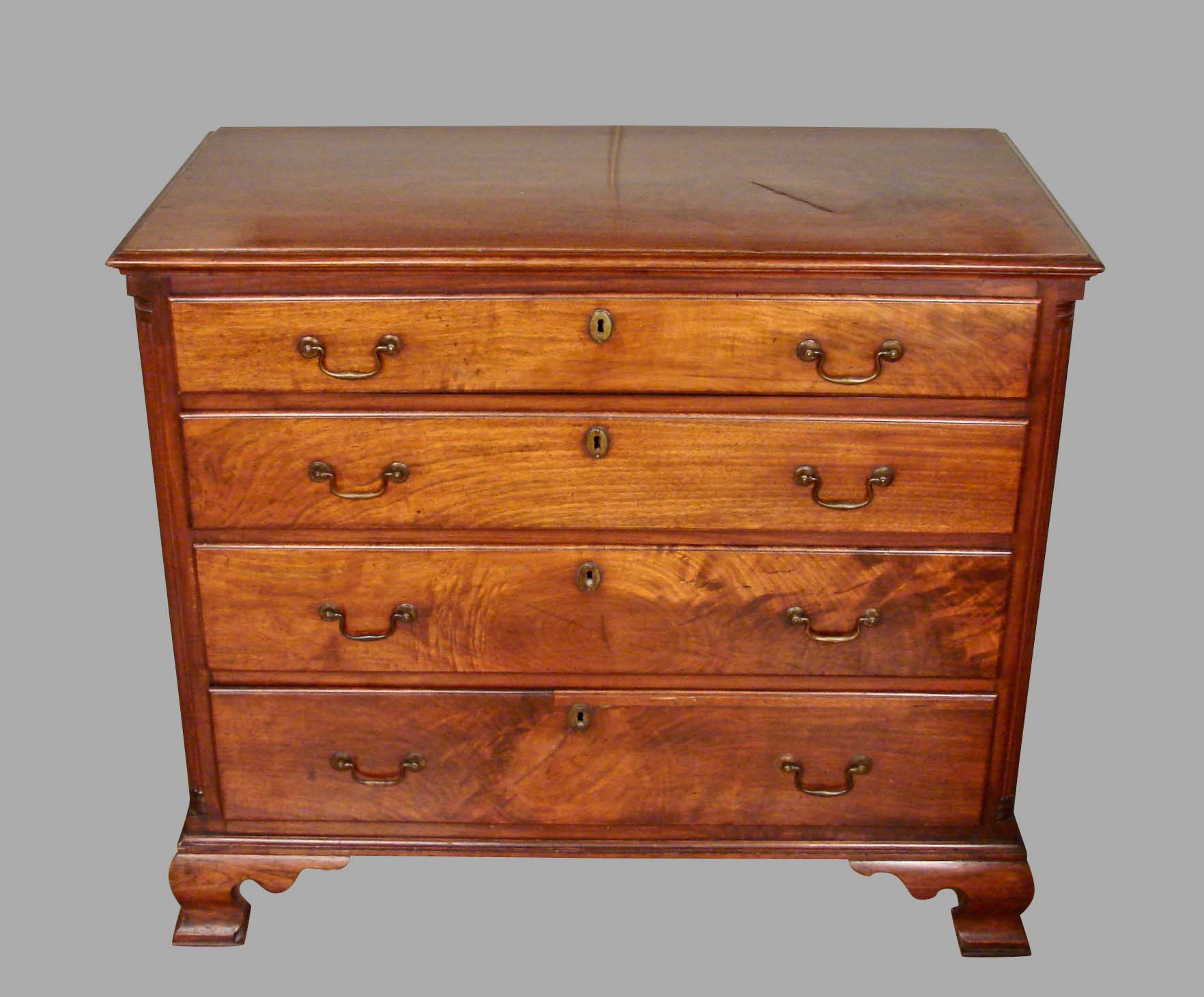 Pennsylvania Chippendale Period Walnut Four-Drawer Chest | DANIEL STEIN Antiques San Francisco CA