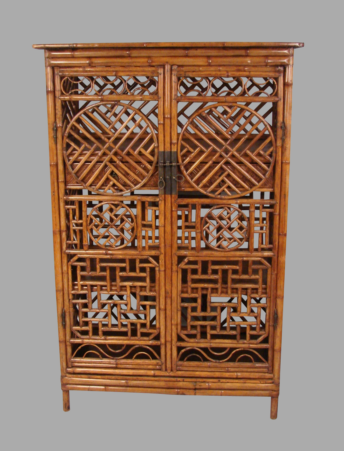 Chinese Painted Bamboo Cabinet with Interior Drawers and Shelves | DANIEL STEIN Antiques San Francisco CA