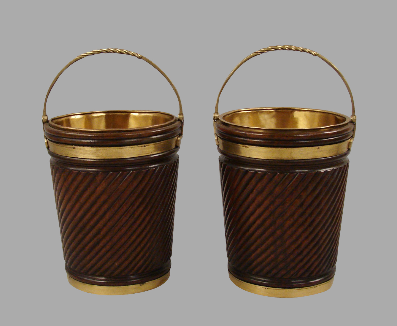 Irish Style Mahogany Peat Buckets | DANIEL STEIN Antiques San Francisco CA