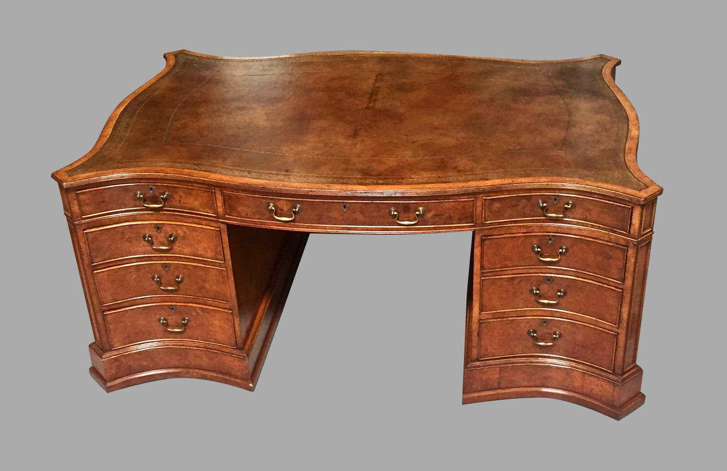 Large Burl Elm Serpentine Partners Desk with Gilt-Tooled Leather Top | DANIEL STEIN Antiques San Francisco CA