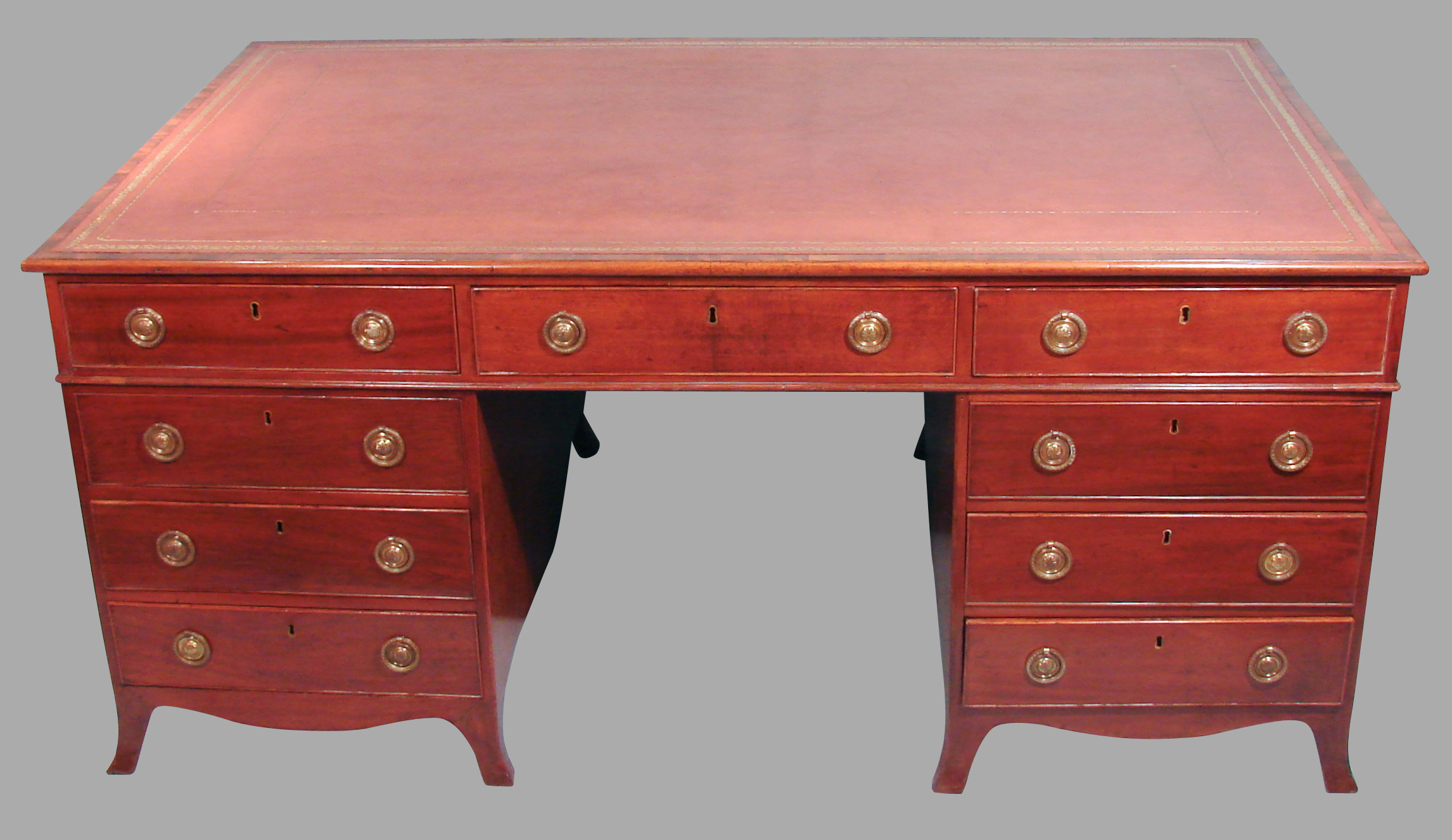 English 19th Century Mahogany Partners Desk | DANIEL STEIN Antiques San Francisco CA