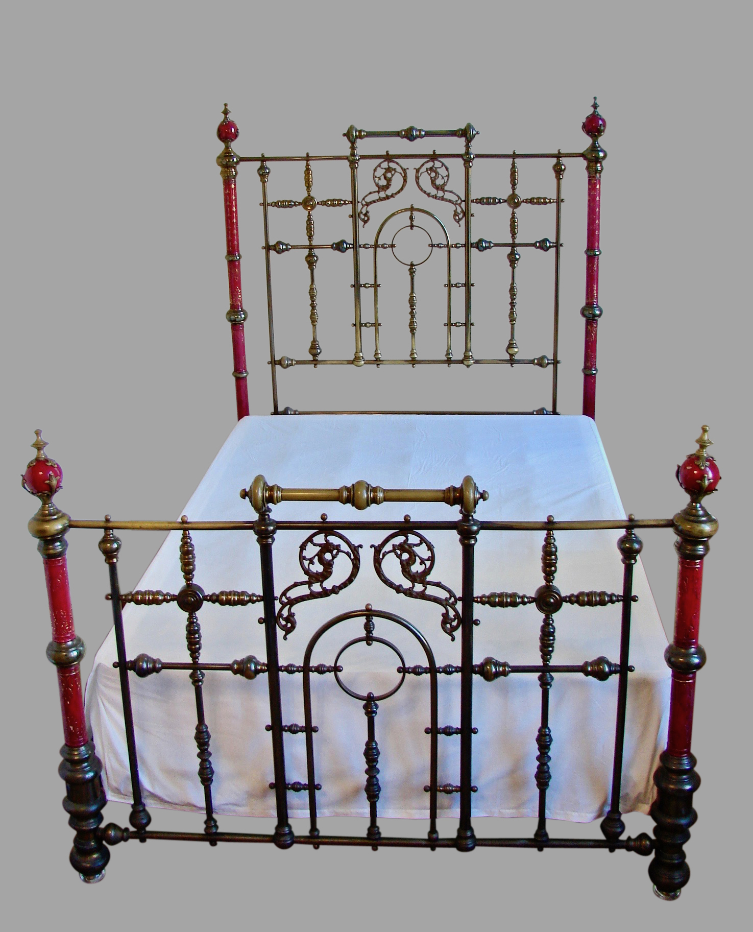 Ruby Red Painted Porcelain and Brass Victorian Bed | DANIEL STEIN Antiques San Francisco CA