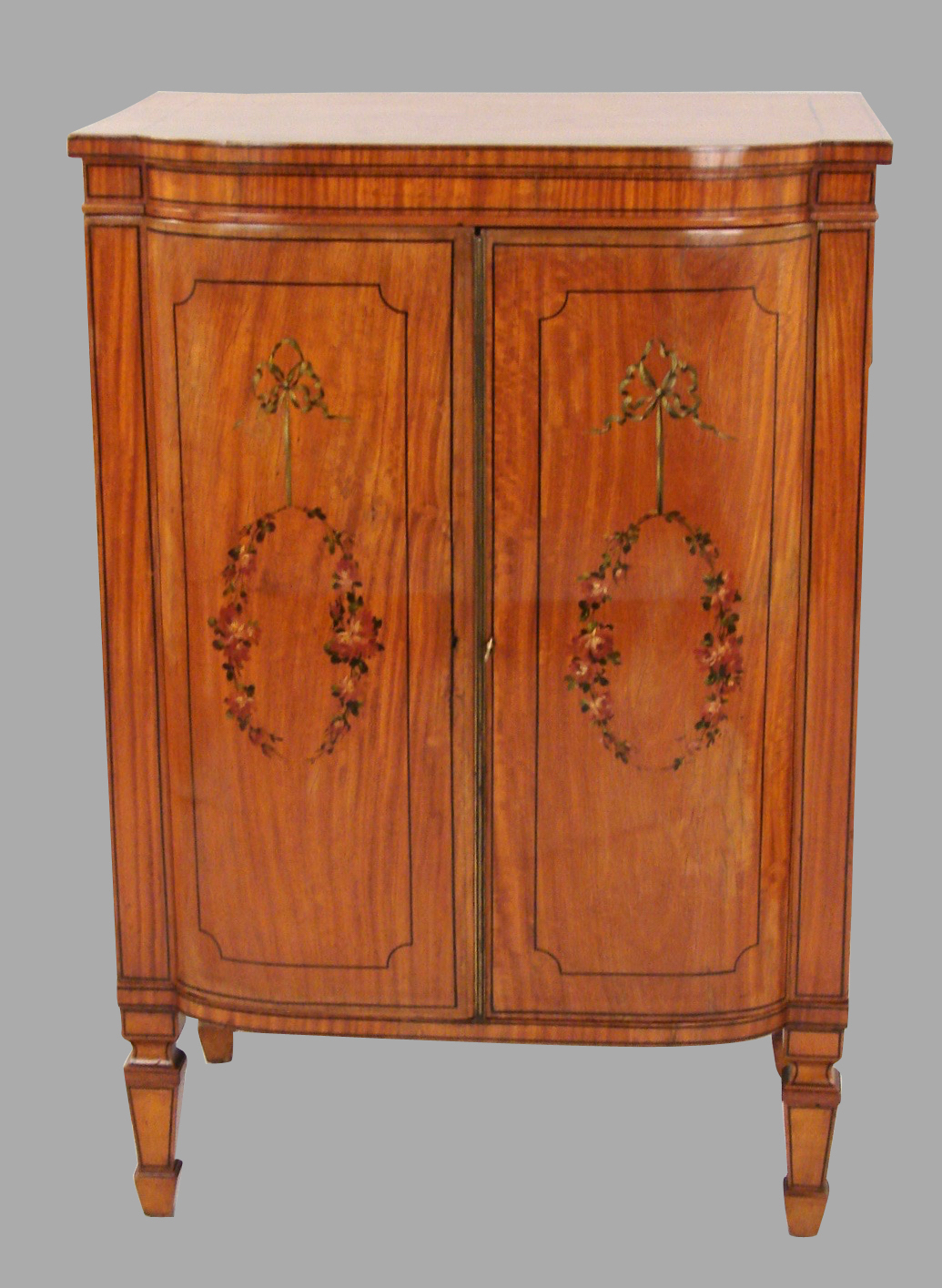 Sheraton Style Satinwood Decorated Music Cabinet | DANIEL STEIN Antiques San Francisco CA