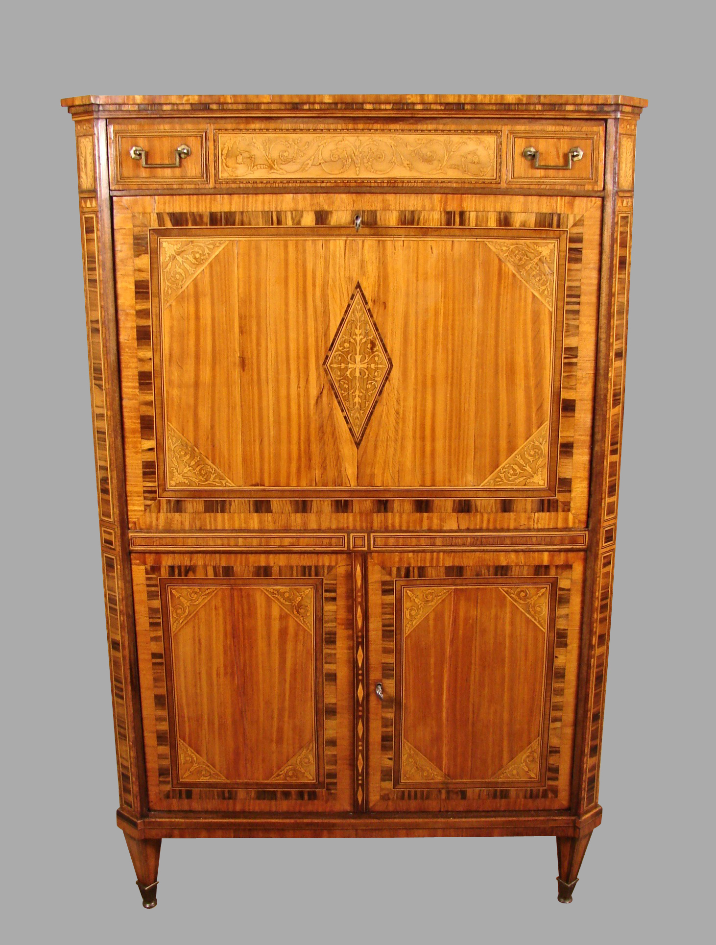 Neoclassical Period Dutch Inlaid Exotic Woods Secretaire Abattant | DANIEL STEIN Antiques San Francisco CA