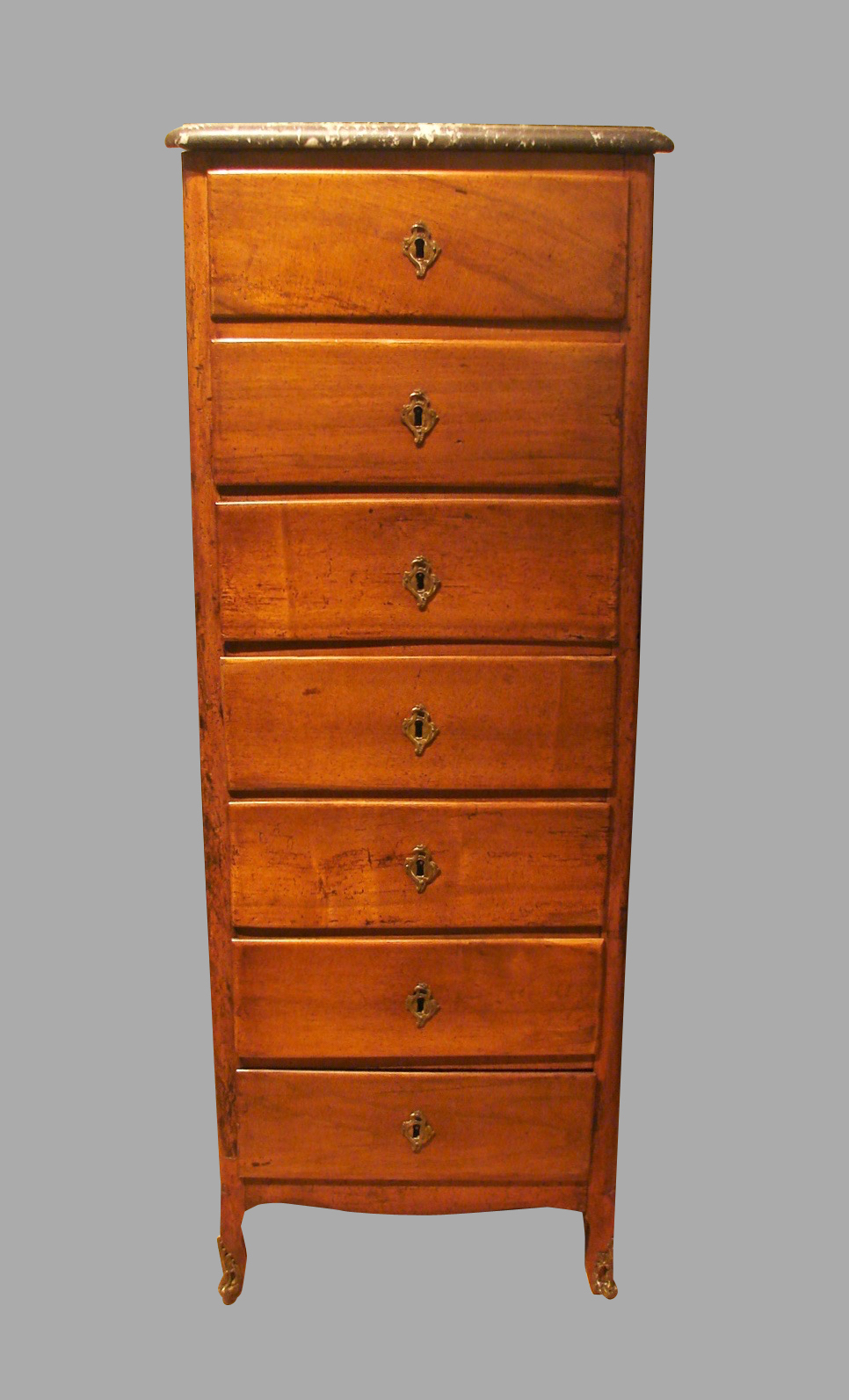 Louis XV Provincial Fruitwood Semanier with Marble Top | DANIEL STEIN Antiques San Francisco CA