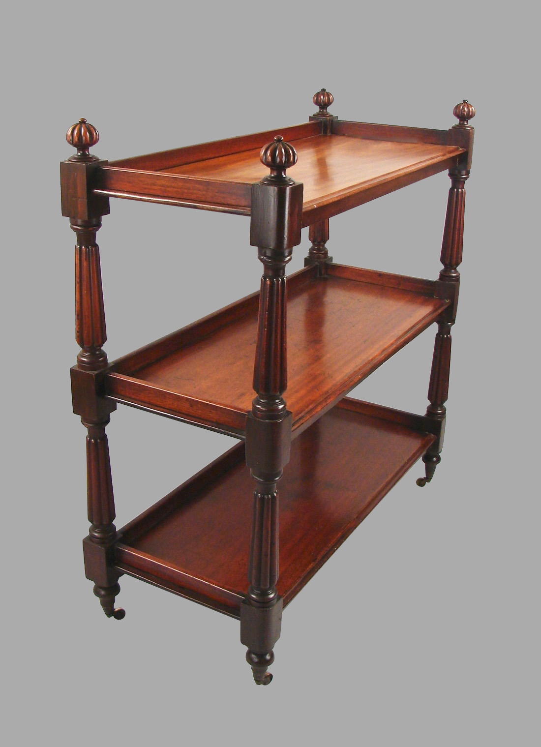 Victorian Mahogany 3-Shelf Sever with Fluted Columns | DANIEL STEIN Antiques San Francisco CA