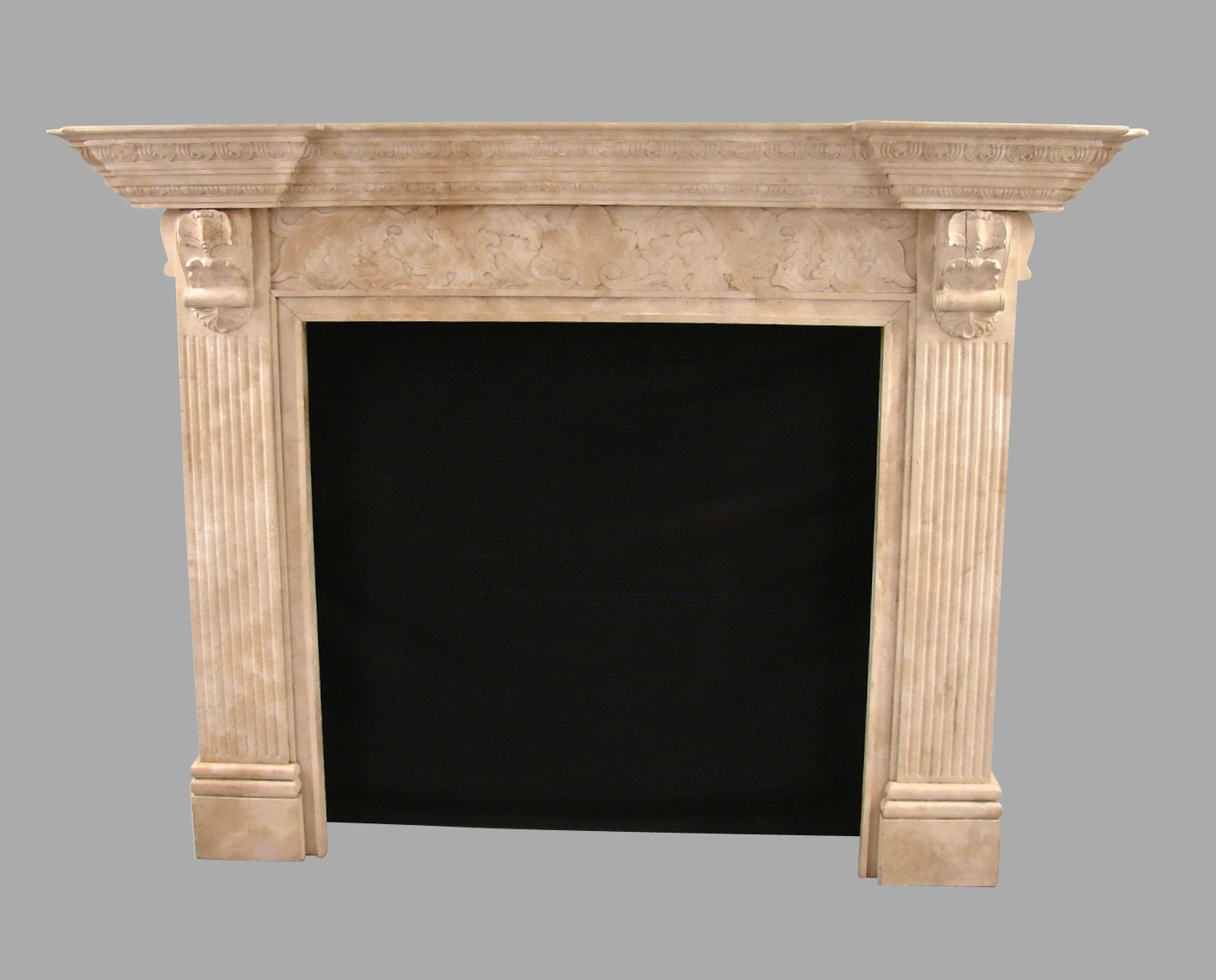 Georgian Style Faux Marble Carved Painted Pine Fireplace Surround | DANIEL STEIN Antiques San Francisco CA