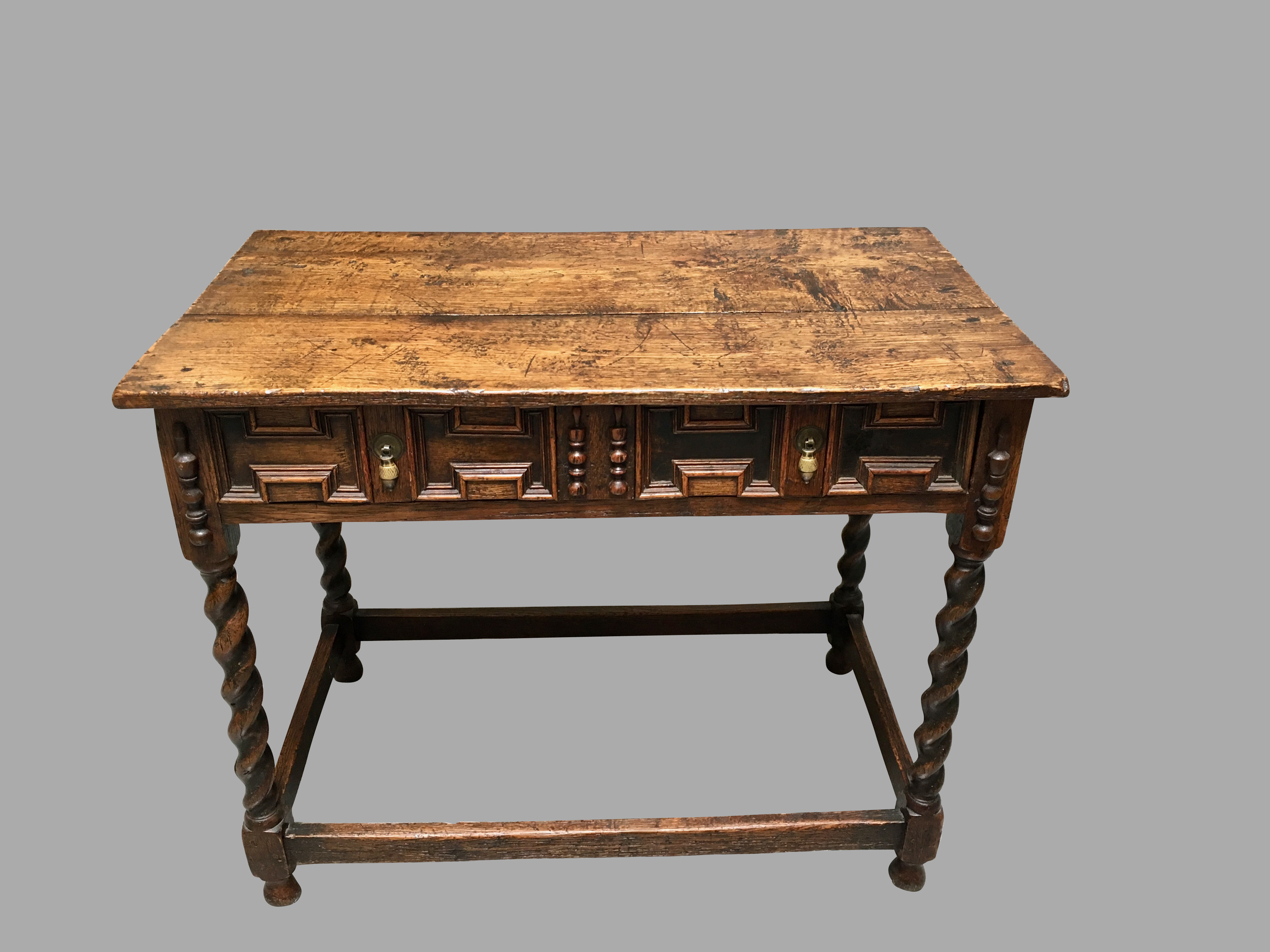 James II Style Oak Side Table with Drawer | DANIEL STEIN Antiques San Francisco CA