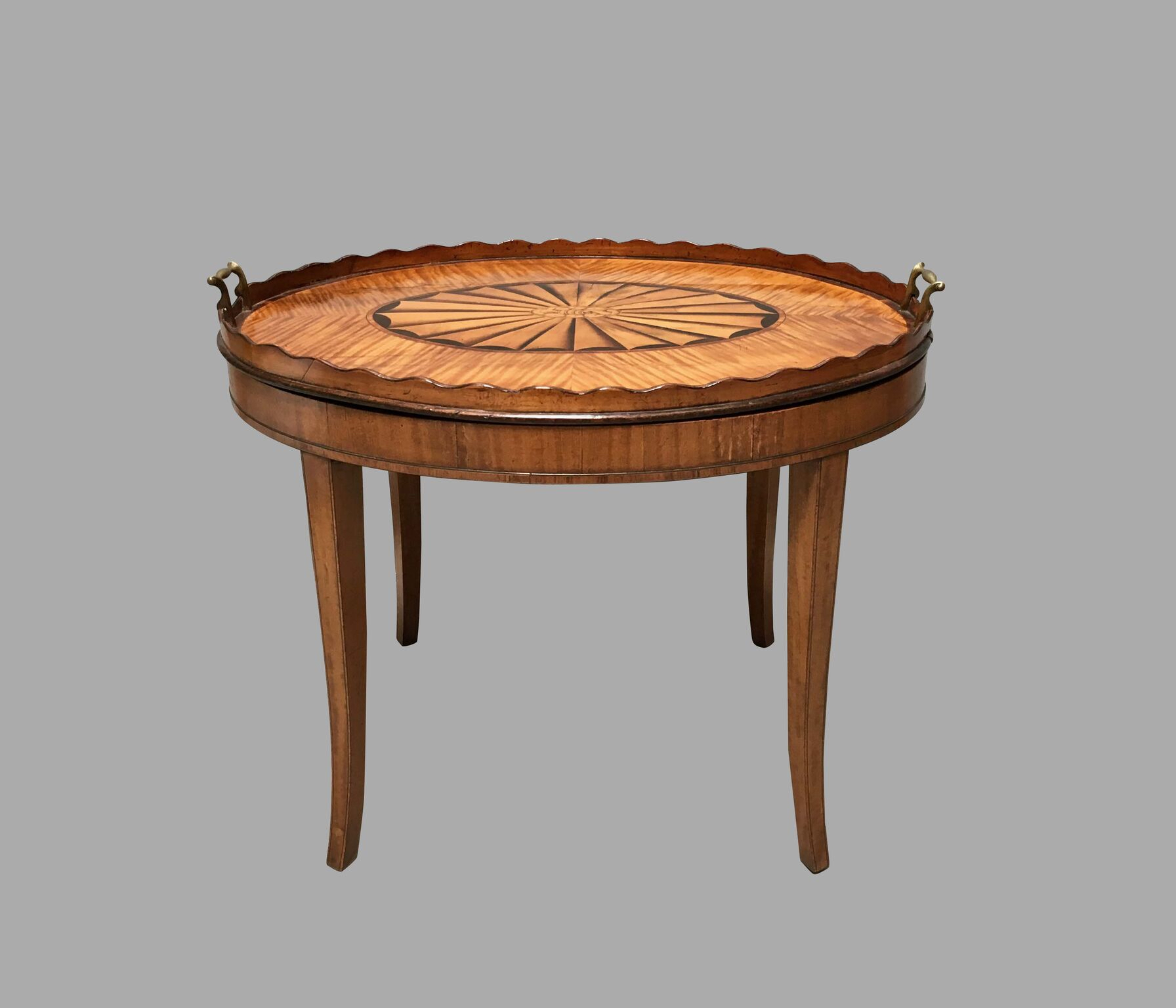 Georgian Inlaid Satinwood Tray with Scalloped Edge on Later Stand | DANIEL STEIN Antiques San Francisco CA