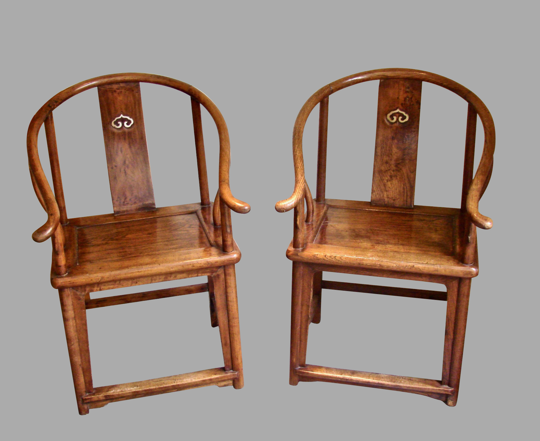 Pair of Antique Chinese Horseshoe Back Elm Arm Chairs | DANIEL STEIN Antiques San Francisco CA