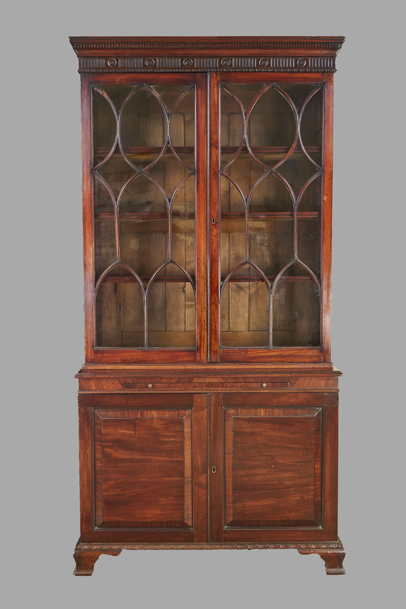 Georgian Mahogany Bookcase Cabinet with Glazed Upper Case | DANIEL STEIN Antiques San Francisco CA