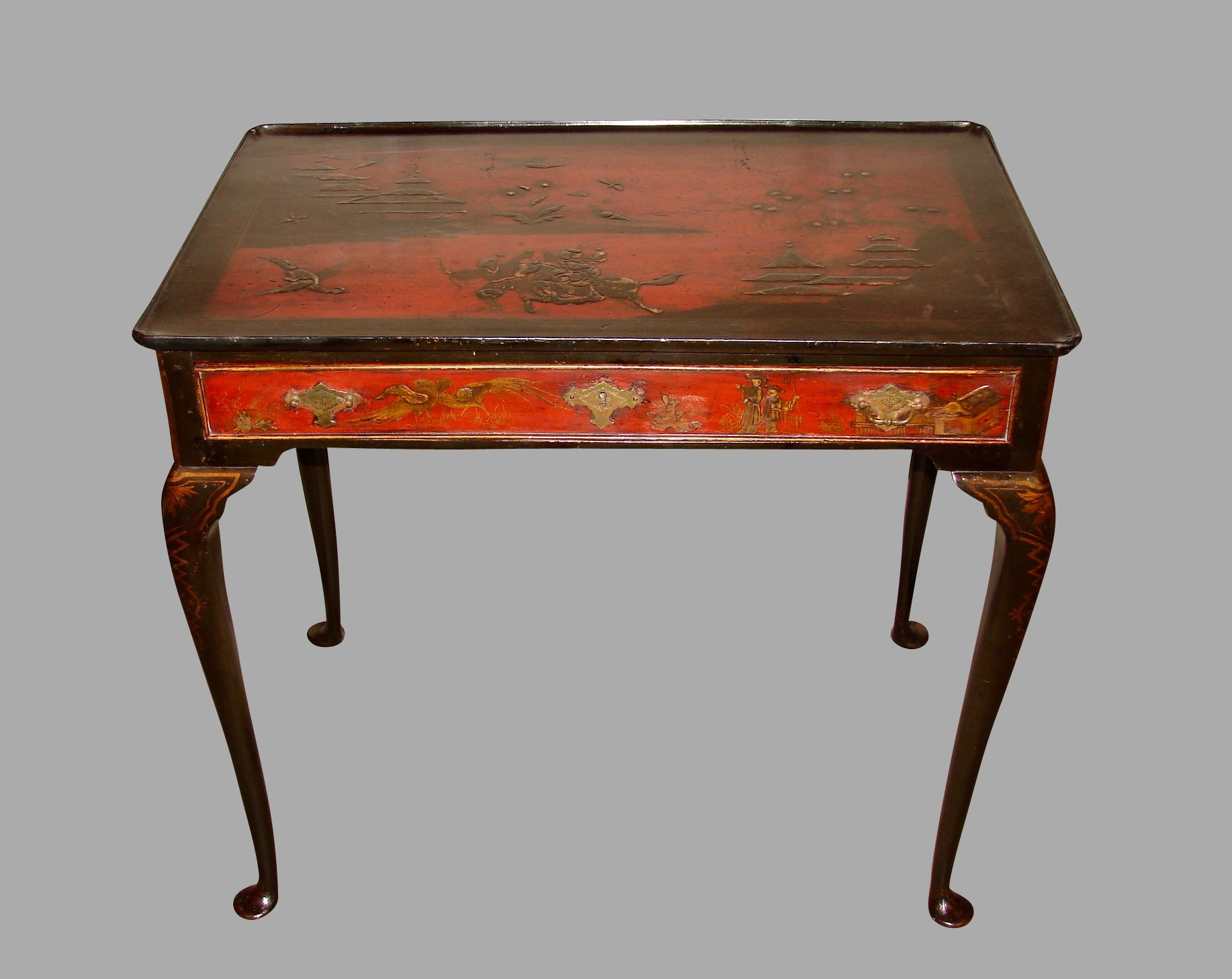 Georgian Red Japanned Side Table with Drawer | DANIEL STEIN Antiques San Francisco CA