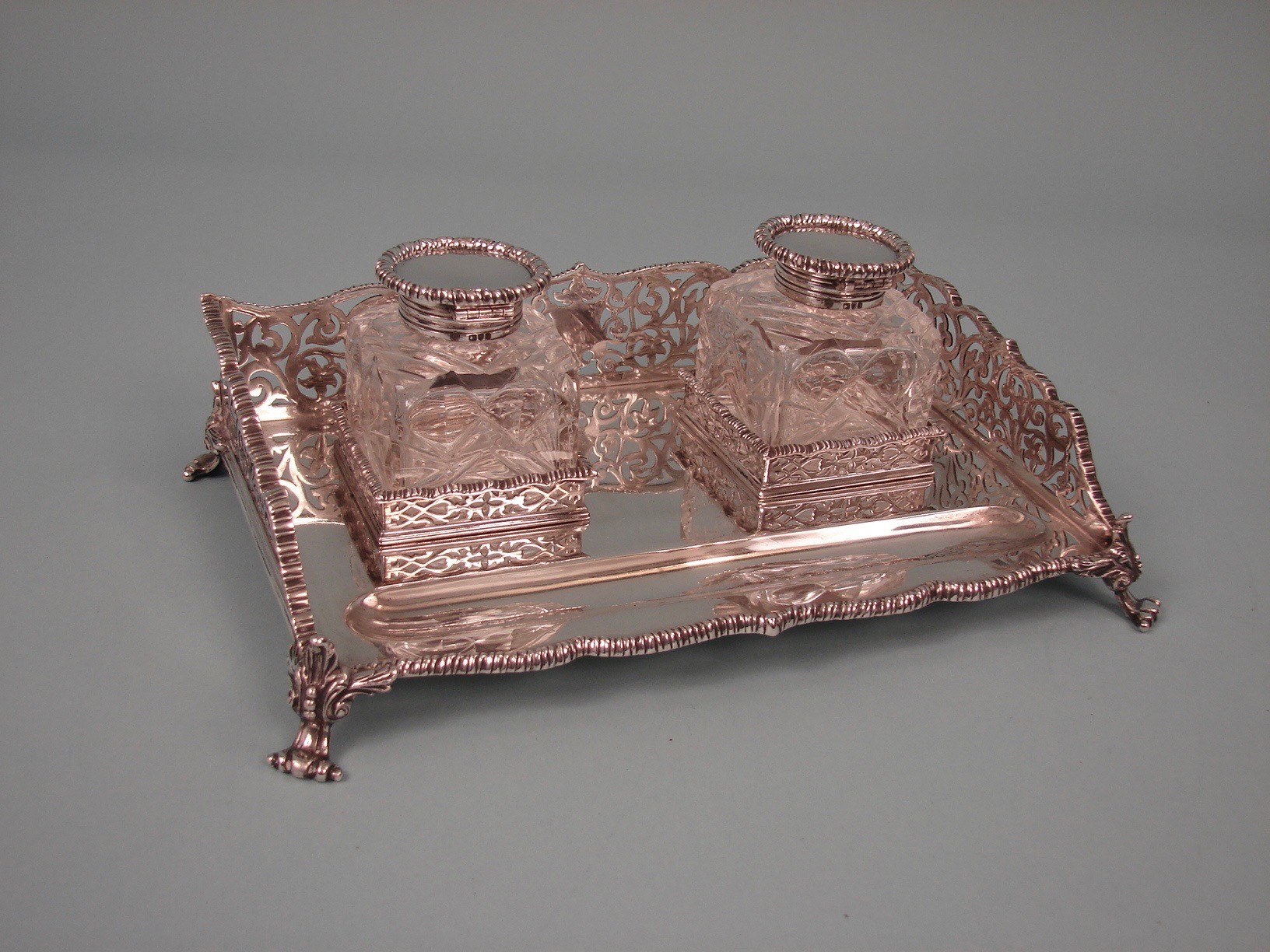 English Sterling Silver Standish with 2 Cut Glass Inkwells | DANIEL STEIN Antiques San Francisco CA