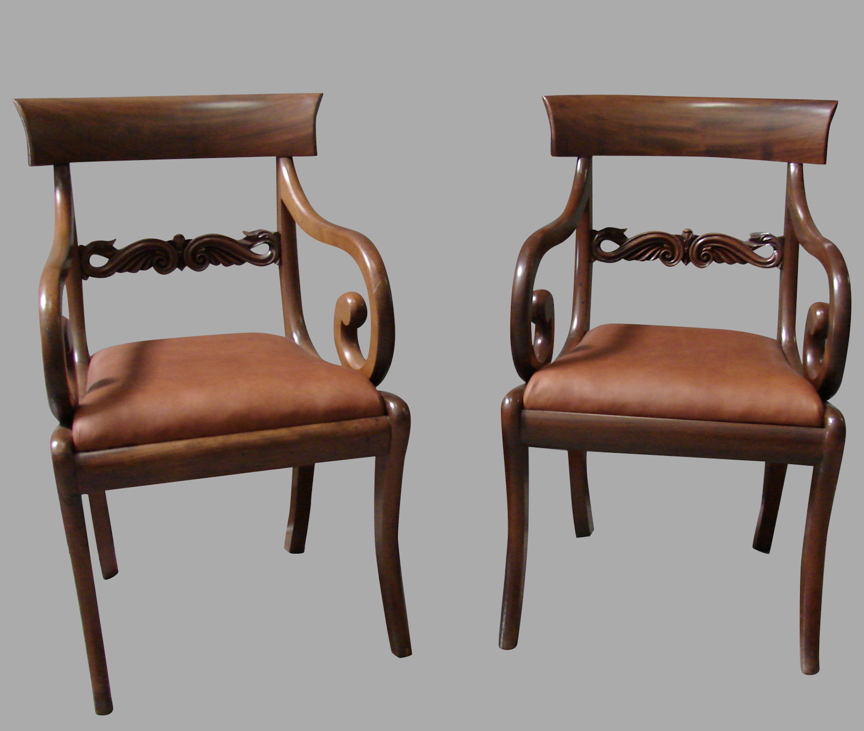 Regency Mahogany Arm Chairs | DANIEL STEIN Antiques San Francisco CA