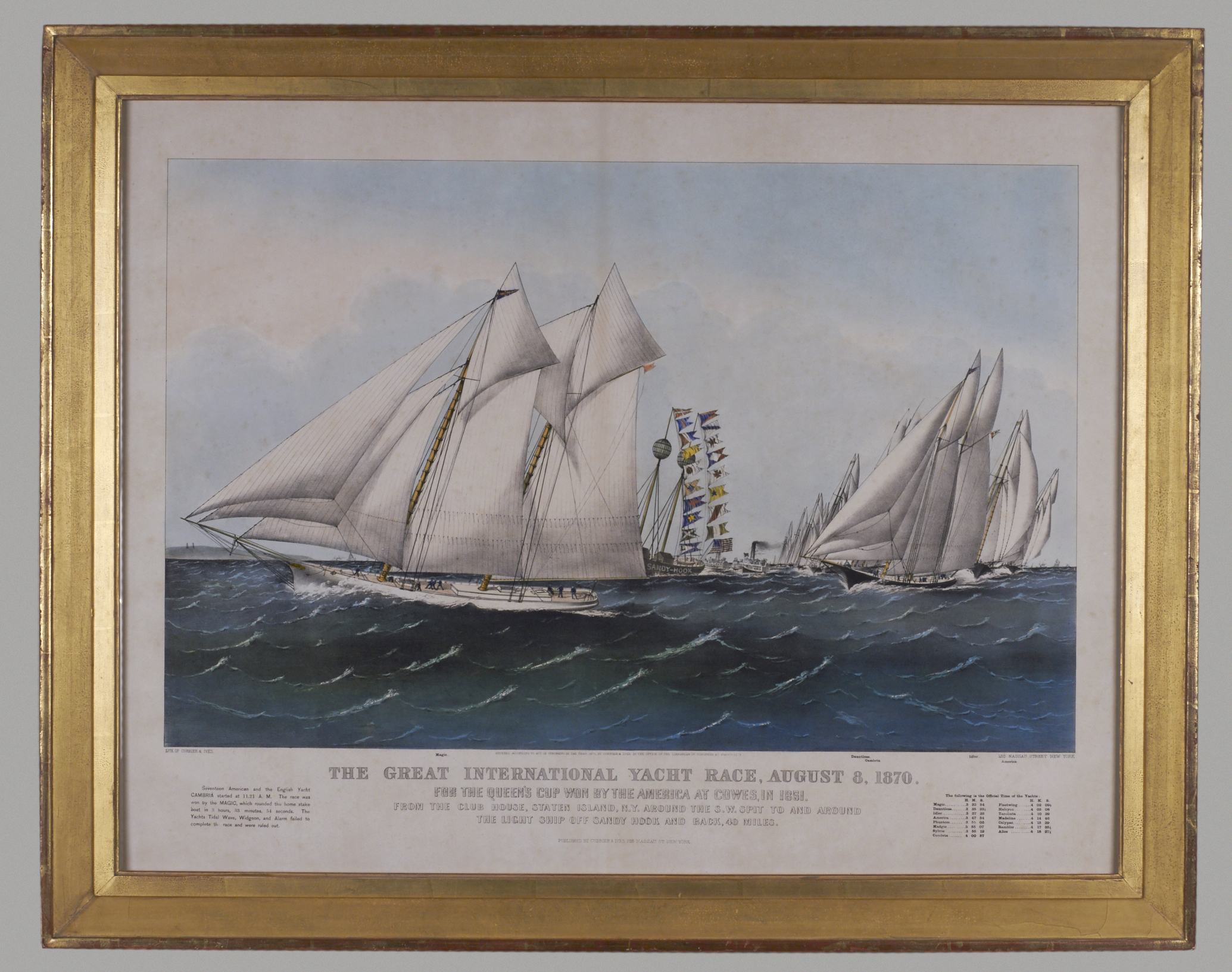 Currier and Ives Lithograph of a Yacht Race | DANIEL STEIN Antiques San Francisco CA