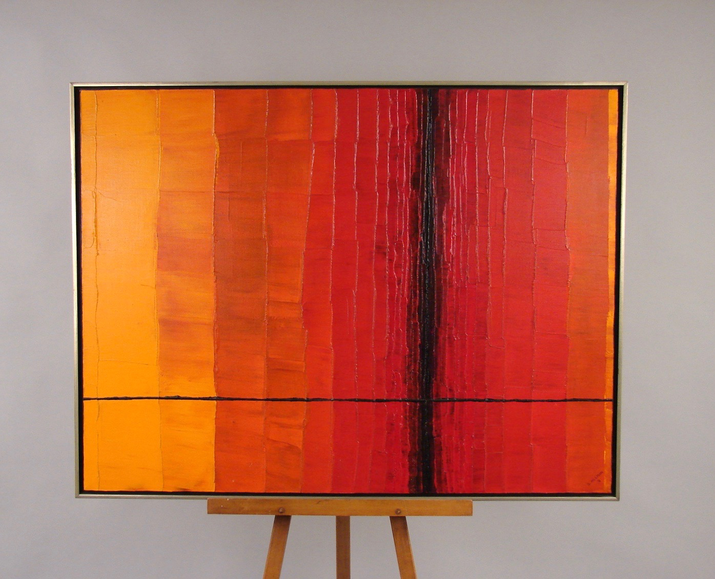 Mid-Century Oil on Canvas in Reds, Oranges and Black | DANIEL STEIN Antiques San Francisco CA