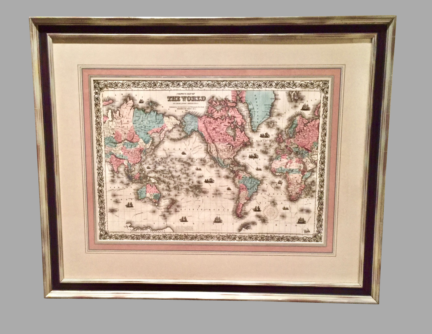 World Map by J.H. Colton 1860 Custom Framed with French Mat | DANIEL STEIN Antiques San Francisco CA
